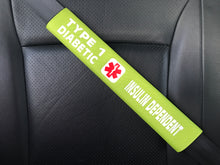 Type 1 Diabetic / Insulin Dependent Medical Alert Seat Belt Cover