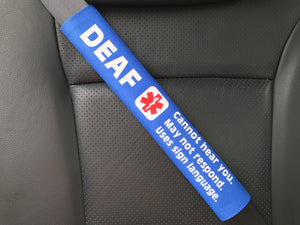 Deaf Sign Language Hearing Impaired Medical Alert Seat Belt Cover