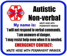 Autism Non-verbal Safety Patches - Personalize Yourself - Re-usable - Soft Polyester Fabric