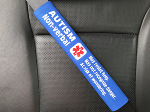 Autism Non-verbal Medical Alert Seat Belt Cover