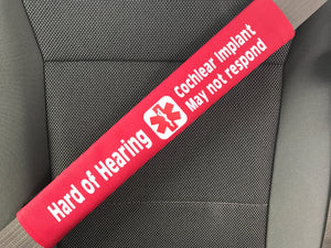 Hard of Hearing Cochlear Implant Medical Alert Seat Belt Cover