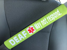 Deaf May Not Respond Hearing Impaired Medical Alert Seat Belt Cover