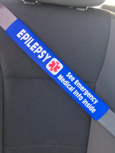 Epilepsy - Medical Alert Seat Belt Cover - Inside Pocket - Medical Info Sheet
