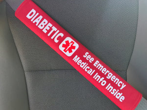 Diabetic Medical Alert Pocket Seat Belt Cover - Window Decal Set