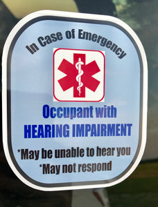Hearing Impaired Decal Medical Alert Safety Sticker