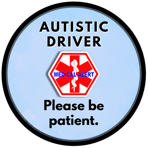2 pack AUTISTIC DRIVER Medical Alert Safety Sticker Set