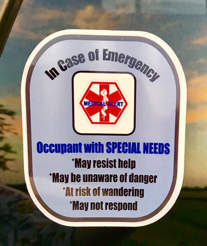 Special Needs Decal Medical Alert Safety Sticker