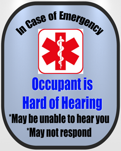 Hard of Hearing Decal Medical Alert Safety Sticker