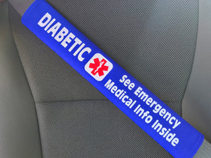 Diabetic Medical Alert Seat Belt Cover