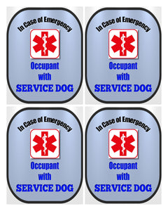 4 Pack Service Dog Decal Medical Alert Safety Sticker Set