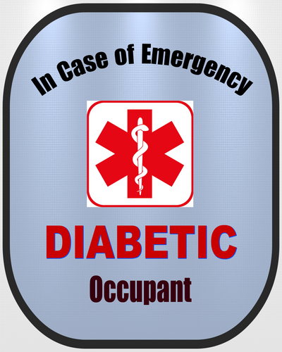 Diabetic Decal Medical Alert Safety Sticker Type 2 - Type 1