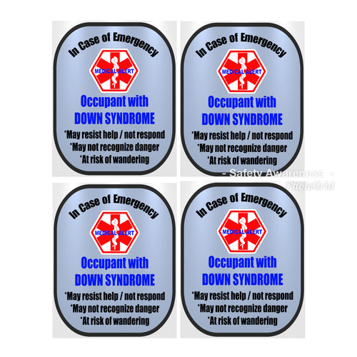 4 Pack Down Syndrome Decal Medical Alert Safety Sticker Set