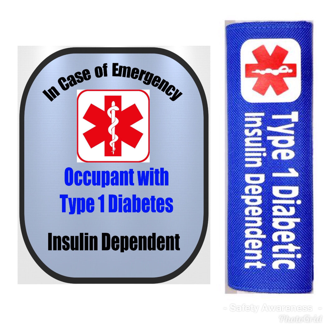 Type 1 Diabetic Backpack Strap - Car Seat Strap Cover - Window Decal Set