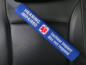 Hearing Impaired Cochlear Implant Medical Alert Seat Belt Cover