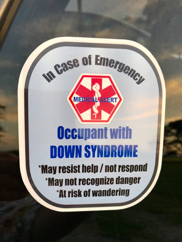 Down Syndrome Decal Medical Alert Safety Sticker