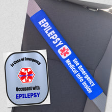 Epilepsy Medical Alert Seat Belt Cover - Window Decal Set