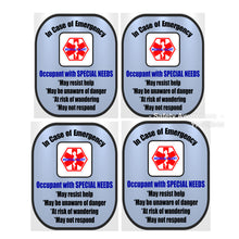 4 Pack Special Needs Decal Medical Alert Safety Sticker Set