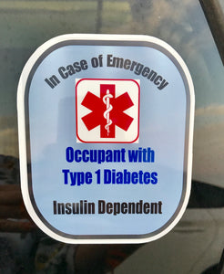 Type 1 Diabetic Decal Medical Alert Safety Sticker