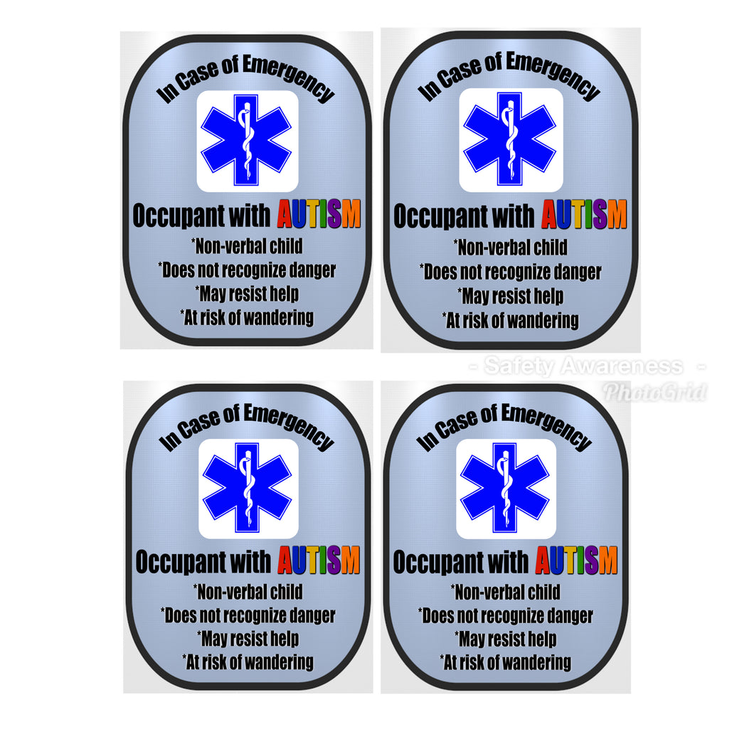 4 Pack Autism Decal Medical Alert Safety Sticker Set