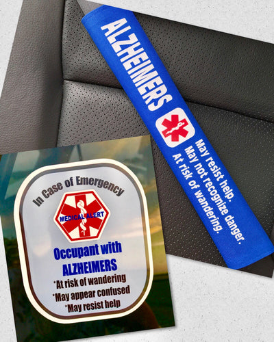 Alzheimers Seat Belt Cover - Window Decal Set Medical Alert