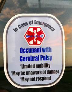 Cerebral Palsy Decal Medical Alert Safety Sticker