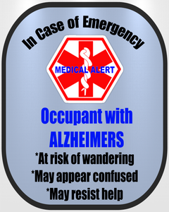 Alzheimers Decal Medical Alert Safety Sticker