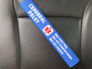 Cerebral Palsy Medical Alert Seat Belt Cover