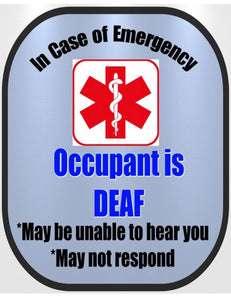 DEAF ASL Decal Medical Alert Safety Sticker