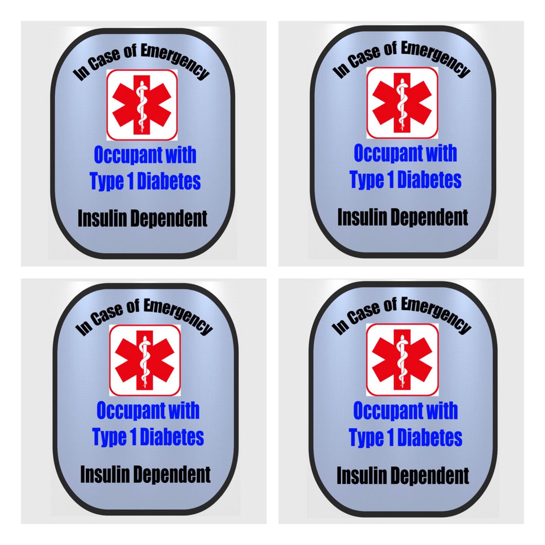 4 Pack Type 1 Diabetic Decal Medical Alert Safety Sticker Set