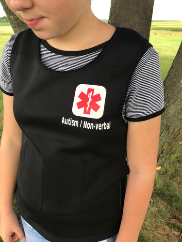 Autism Medical Alert Safety Weighted Pressure Vest with Bluetooth Tracking Device for Child or Adult