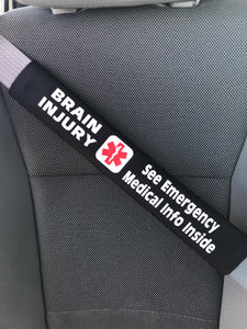 Brain Injury - Medical Alert Seat Belt Cover - Inside Pocket - Medical Info Sheet