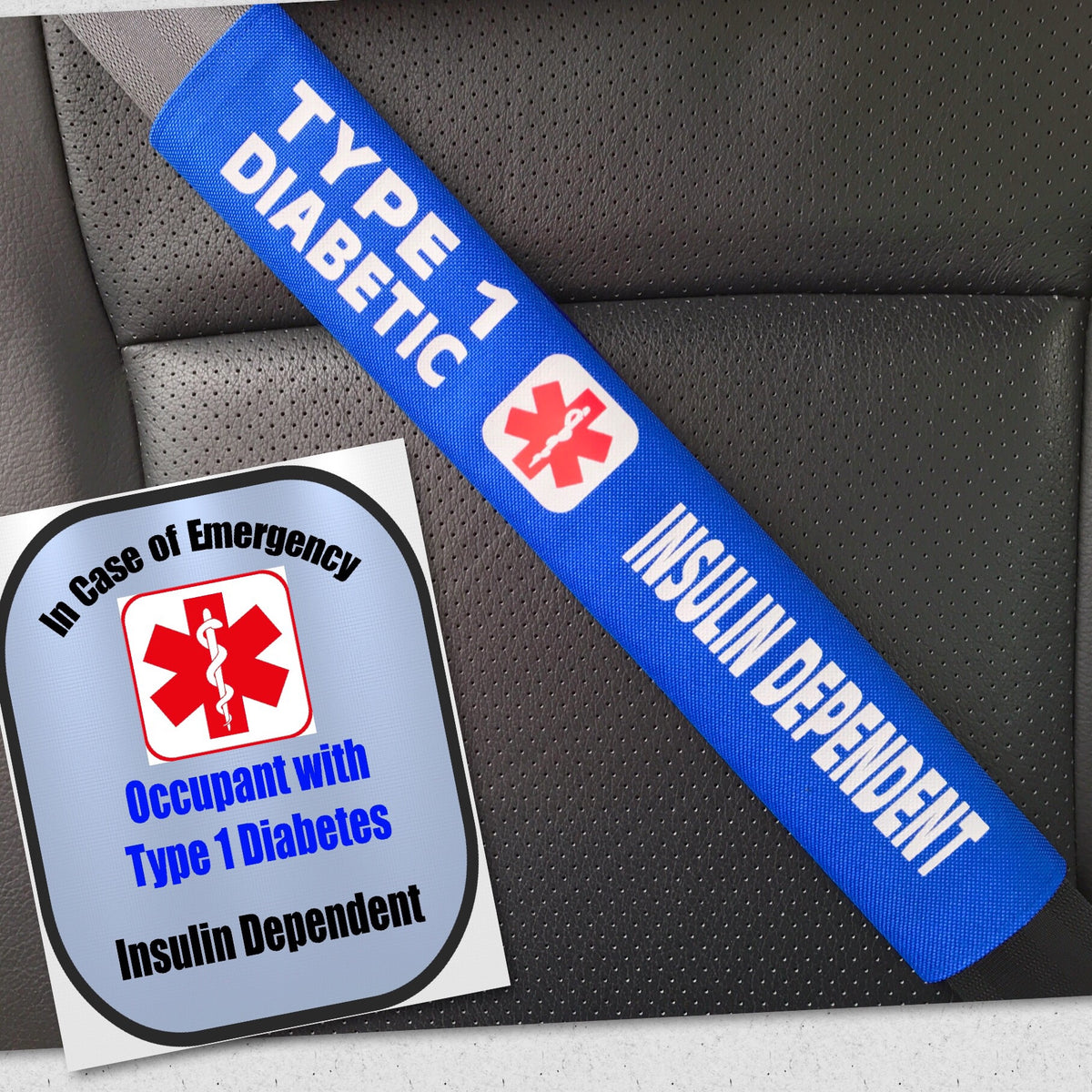 Type 1 diabetic seat belt cover window decal set medical alert safety awareness products