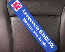Service Dog Seat Belt Cover - Window Decal Set Medical Alert - Royal Blue