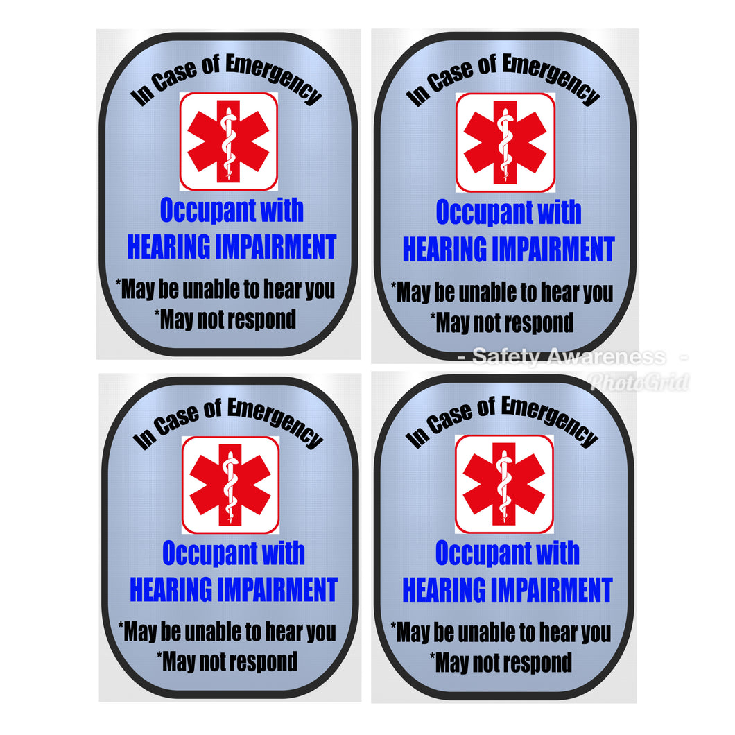 4 Pack Hearing Impaired Decal Medical Alert Safety Sticker Set