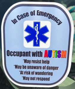 AUTISM Decal Medical Alert Safety Sticker