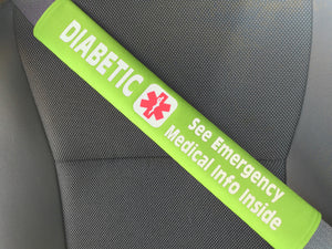 Diabetic - Type 2 - Medical Alert Seat Belt Cover - Inside Pocket - Medical Info Sheet