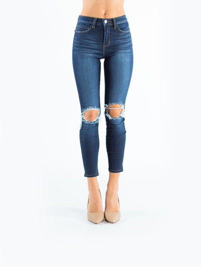 Margot High Rise Skinny Baltic Destruct