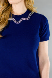 Jewel Neck Sweater Navy