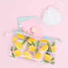 lemons jetsetter with makeup brushes inside laying on a pink background