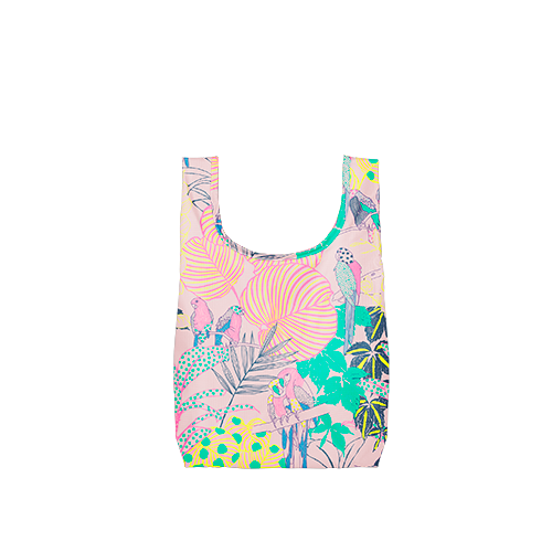 A medium pink reusable tote with a multi-colored tropical pattern
