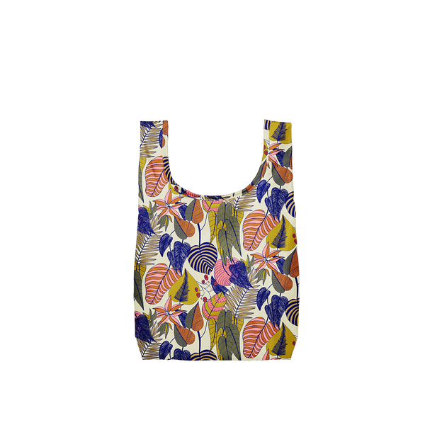 A small botanical patterned reusable tote with yellow, pink, blue and green leaves.