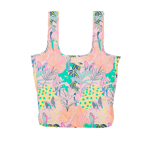 A large pink reusable tote with a multi-colored tropical pattern