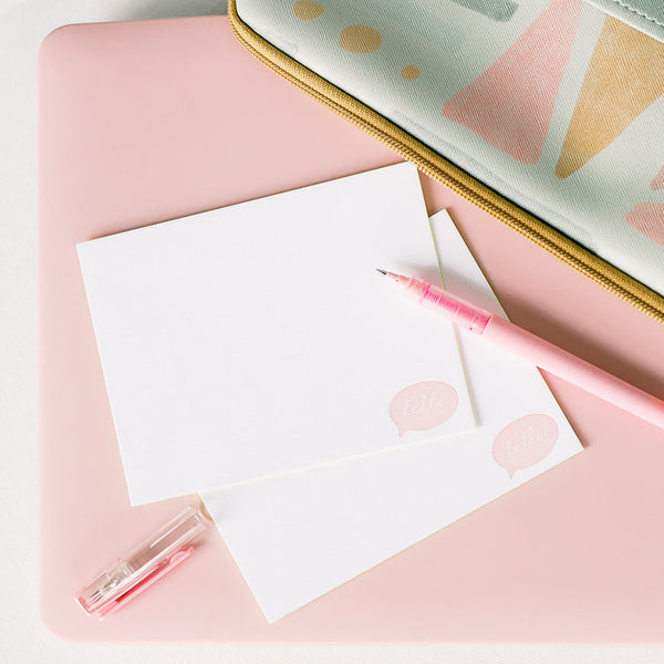 Hello Bubble Stationery Set with a pink pen and cute laptop sleeve.