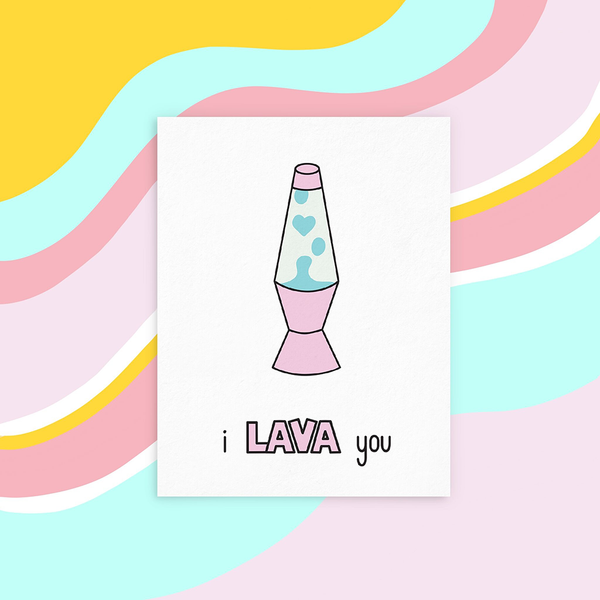 "A white greeting card with a pink and light blue lava lamp and the text ""i LAVA you"". The image background is a yellow, light blue, medium pink, light pink and white wavy stripe."