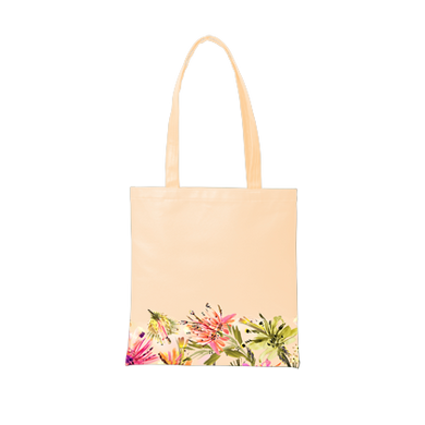 Cute tote bag in peach with tropical print trim.