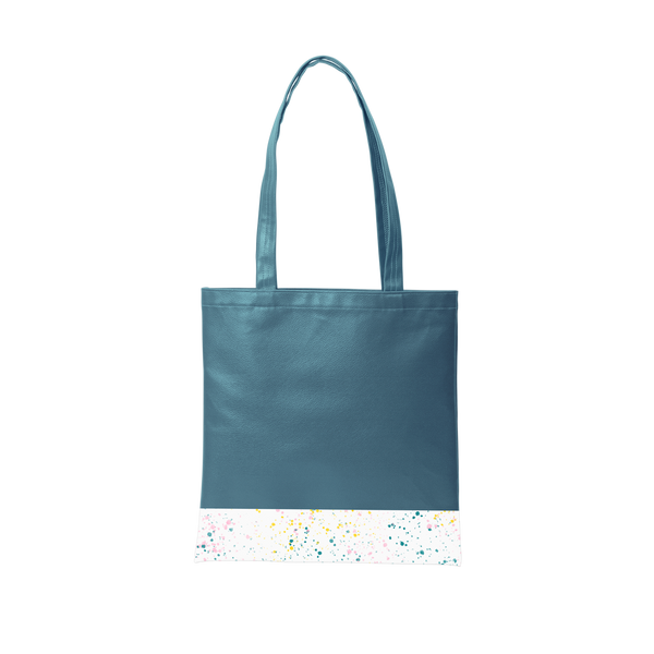 Spruce green tote bag with a long shoulder strap and white paint splatter detail along the bottom.