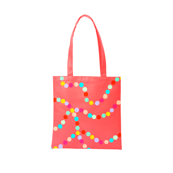 A cute tote bag in red with rainbow polka dots pattern.
