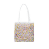 Cute clear vinyl tote bag with rainbow glitter confetti and vinyl shoulder strap.