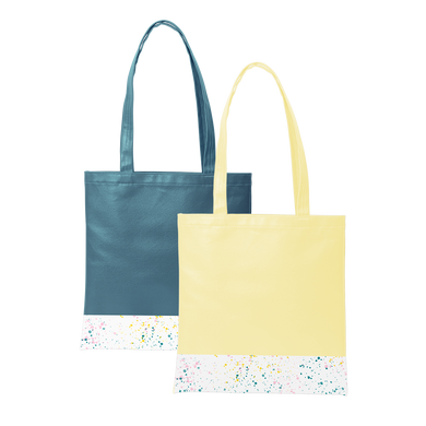 Two cute tote bags; One yellow and one spruce green, with a long shoulder strap and white paint splatter detail along the bottom.