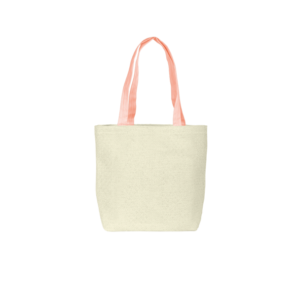 Cute tote bag in natural straw with peach canvas straps.